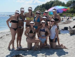 My bachelorette party. Sorry for posting photo of all of you in bikinis without your permission, but the visors won out.